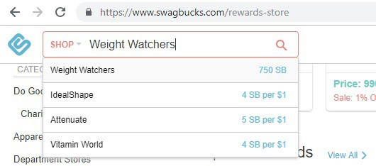 Weight Watchers coupon on Swagbucks