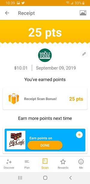 Scan any receipt with Fetch Rewards and get points
