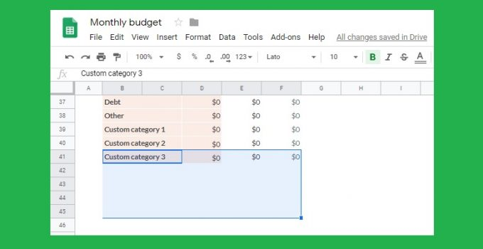Google Sheets budget template: How to add custom categories and fix transaction tab issue