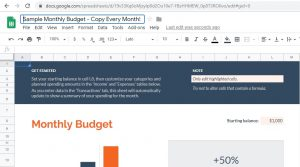 "Google Sheets, select ""Monthly budget"" and rename the spreadsheet ""Sample Monthly Budget."""