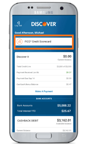 Discover FICO Scorecard from mobile app