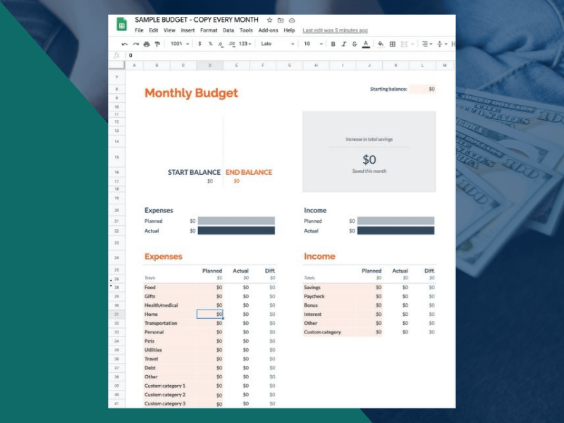 Google Sheets Monthly Budget Summary Tab Changes