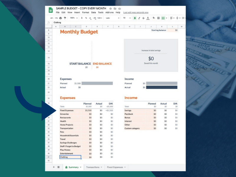 Monthly budget template with Google Sheets - Fixed expenses line on the Summary tab