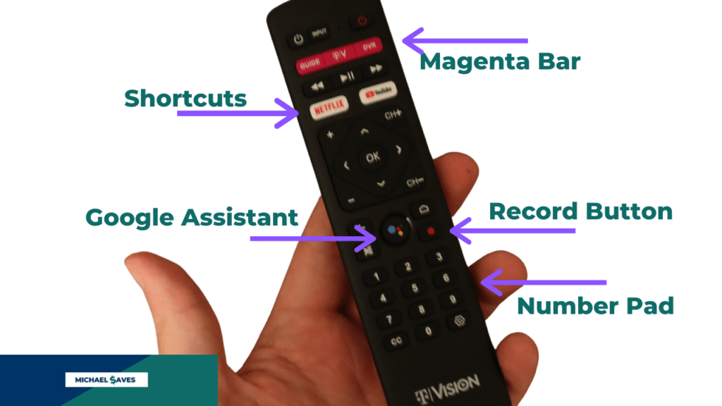 TVision HUB remote features: Magenta bar, shortcuts, Google Assistant, record button, number pad