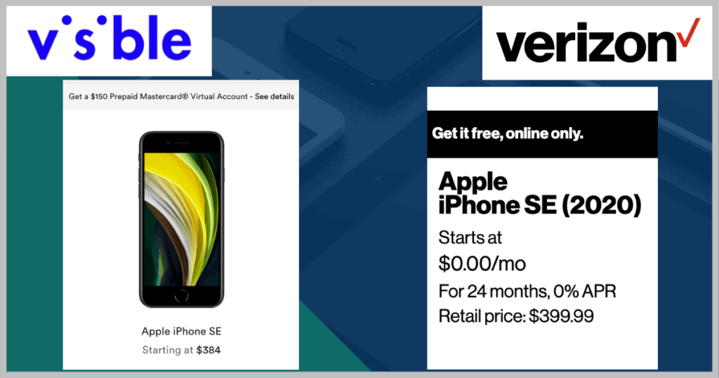 Visible and Verizon Apple iPhone SE deals