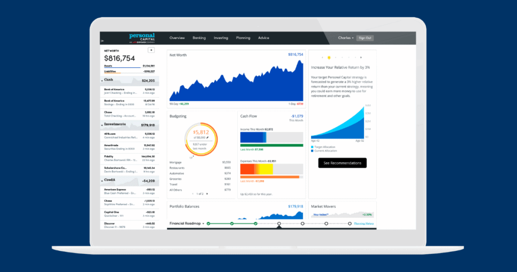 Personal Capital dashboard and net worth tracker