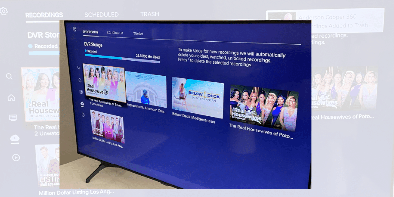 Sling TV DVR section with available storage and shows being recorded