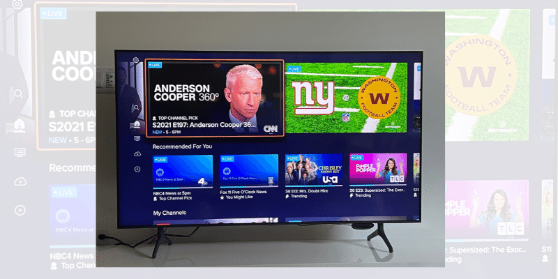 Sling TV home screen with trending content featured at the top of the screen