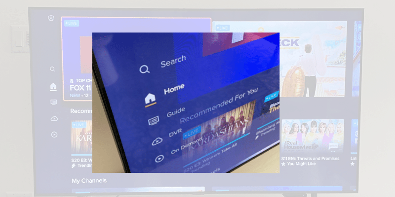 Sling TV main navigation on the left of the screen