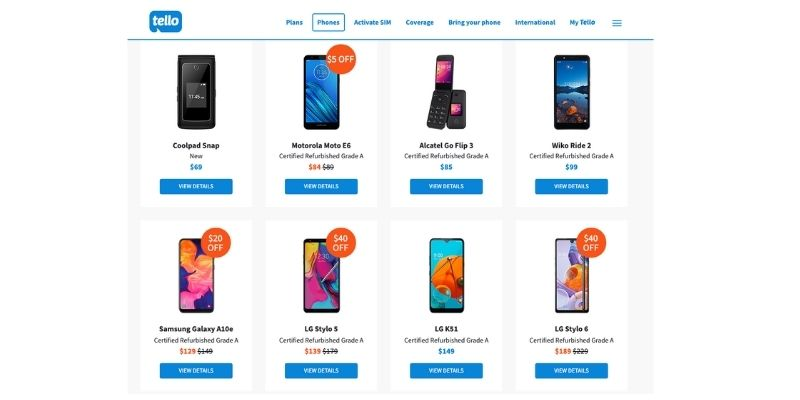 Tello phones for sale, new and refurbished