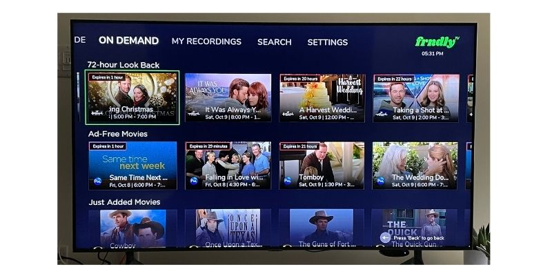 Frndly TV 72-hour Look Back from on Demand section